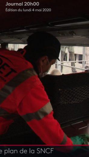 JT France 2 : lumière sur les équipes d'Onet qui désinfectent les trains SNCF