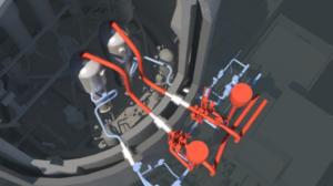 Vue d'ensemble des tuyauteries du circuit de vapeur principal (en rouge) et des traversées (en blanc)