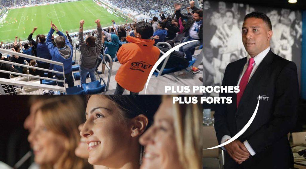 Onet Sécurité - Onet Accueil - Des visages heureux regardent un match de foot dont la sécurité est assurée par Onet Sécurité
